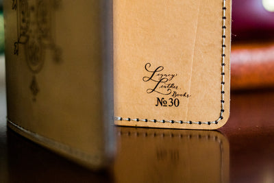 Handcrafted Antique-Style Engraved Leather Book Cover - Legacy Leather Books