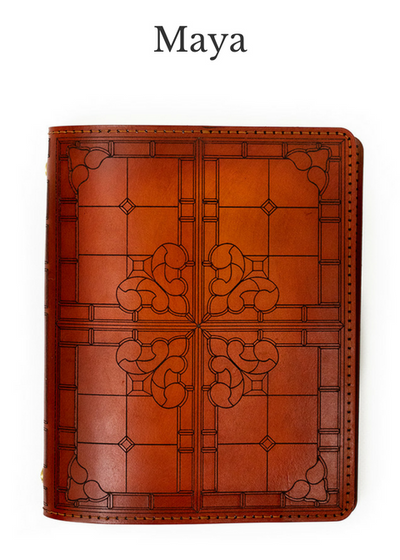 MAYA Handcrafted Antique-Style Engraved Leather Book Cover - Legacy Leather Books