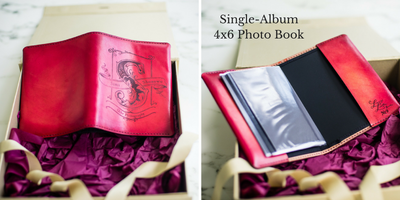 MONOGRAM Handcrafted Antique-Style Engraved Leather Book Cover - Legacy Leather Books - single album photo book