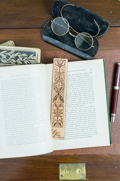 Antique-style engraved leather bookmark, Style 5 - Legacy Leather Books
