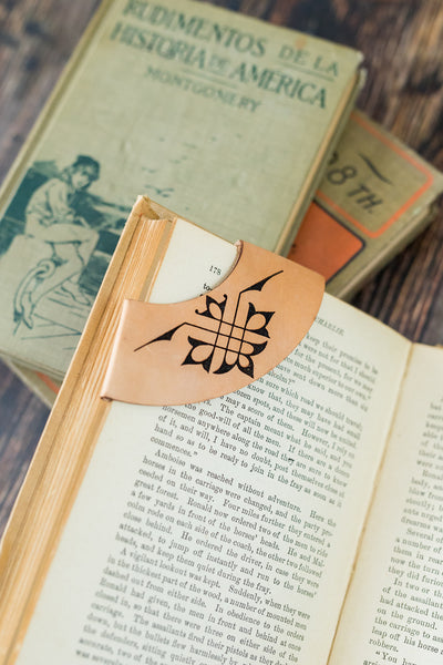 Antique-style engraved leather Corner Collar Bookmark, Style 1 - Legacy Leather Books