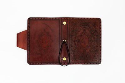 EYRE Handcrafted Antique-Style Engraved Leather Book Cover - Legacy Leather Books