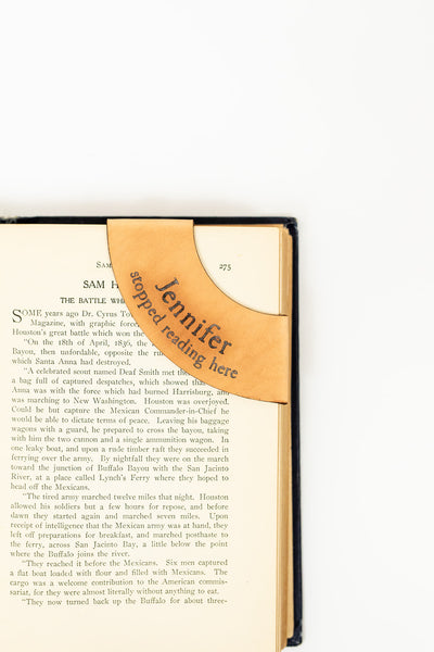 Antique-style engraved leather Corner Collar Bookmark, Personalized - Legacy Leather Books