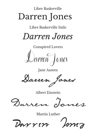 Font Examples: Libre Baskerville, Libre Baskerville Italic, Conspired Lovers, Jane Austen, Albert Einstein, Martin Luther