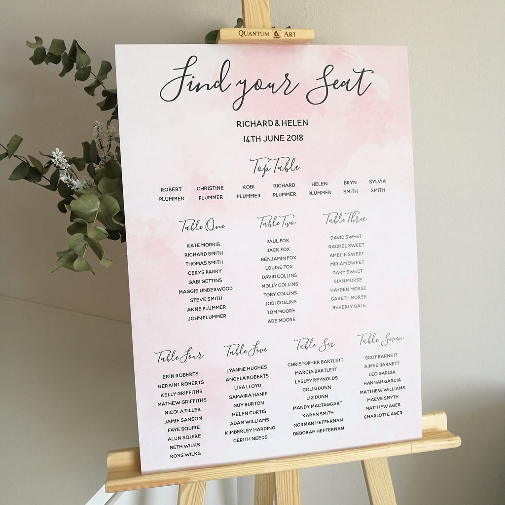 Blush Pink Watercolour Table Plan