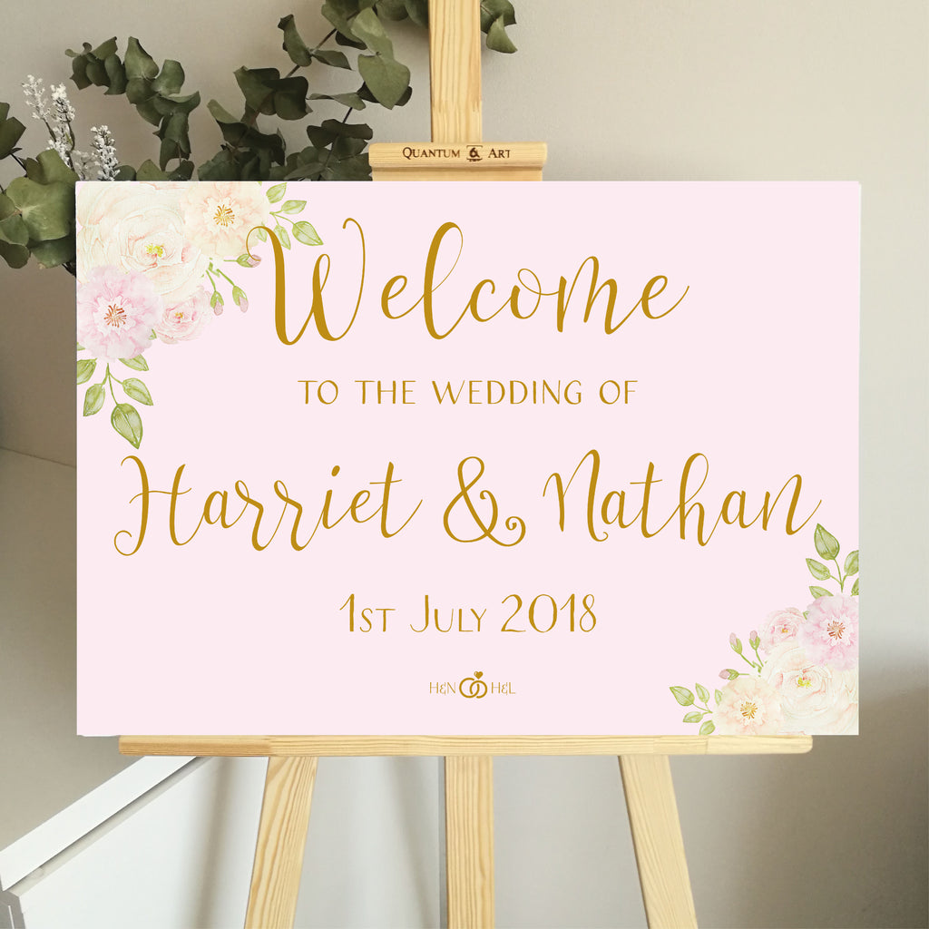 Pink Floral Welcome Wedding Sign