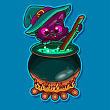 Cauldron Kitty Cat Halloween Diamond Painting Kit