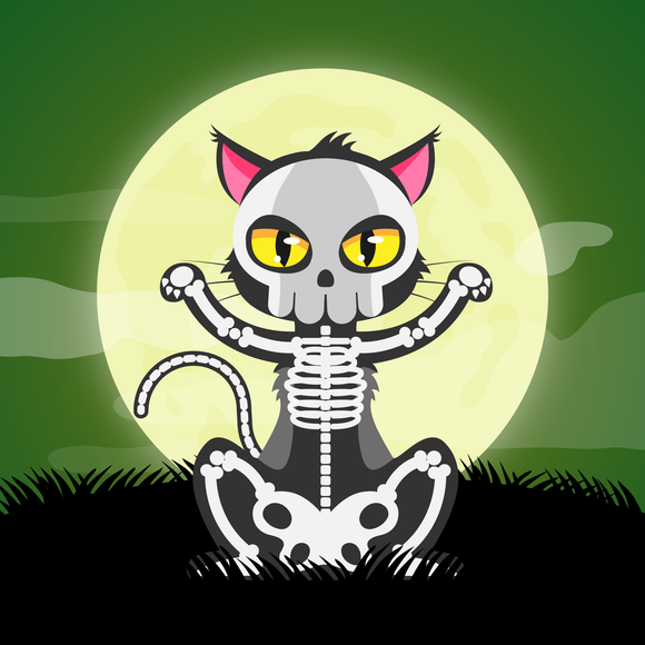 Skeleton Cat Halloween Diamond Painting Kit