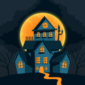 Full Moon Haunted House Halloween Diamond Painting Kit