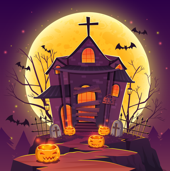 Haunted House Halloween Diamond Painting Kit