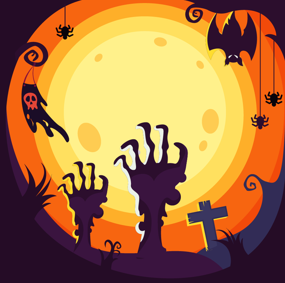 Skeleton Hands Graveyard Halloween Diamond Painting Kit