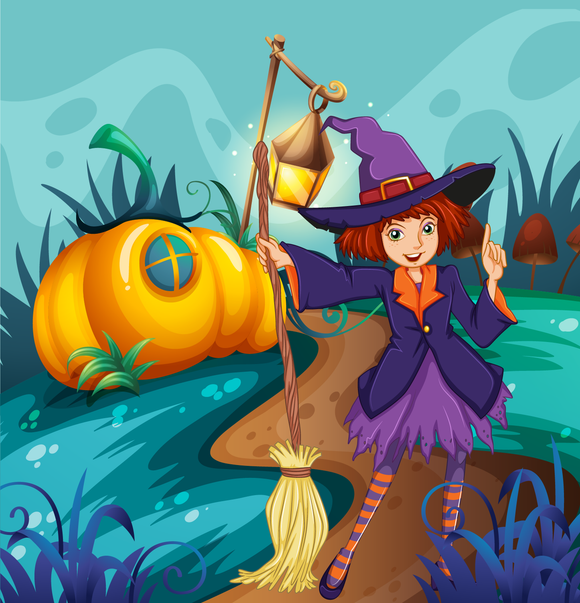 Pumpkin Witch Halloween Diamond Painting Kit