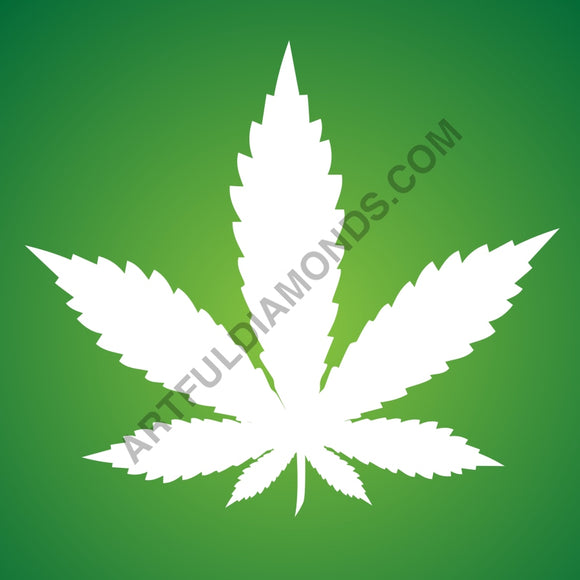 Free Green Marijuana Leaf Cannabis Weed Diamond Painting Kit