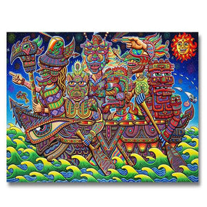 Mayan Ship Psychedelic Art Nouveau 5D DIY Diamond Painting Kit