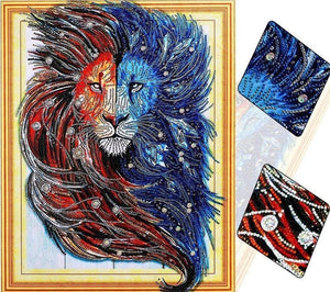 Fire & Water Lion Special Diamond Painting