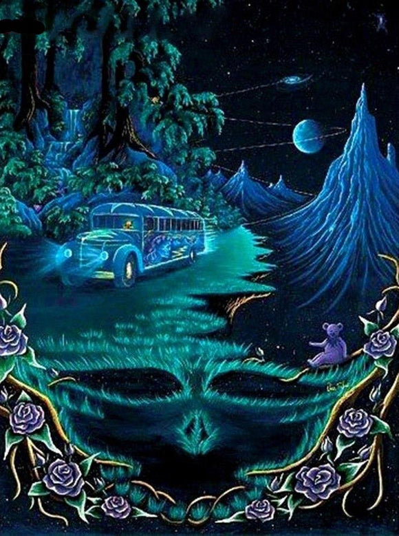 Grateful Dead Truckin DIY Diamond Painting Kit For Beginners & Experts. Available in multiple sizes. Instant stress relief for anxiety treatment. Makes a beautiful gift or decoration once finished and framed! #diamondpainting #stressrelief #DIY #rhinestones