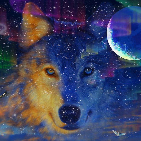 Crescent Moon Wolf Portrait Diamond Painting Kit