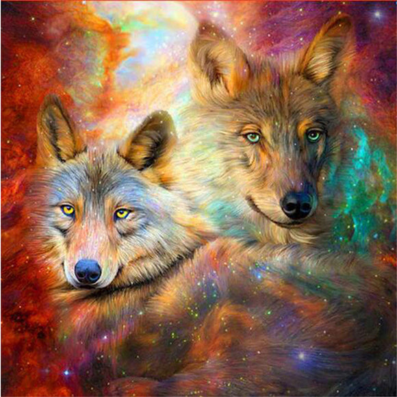 Galaxy Nebula Wolves Diamond Painting Kit