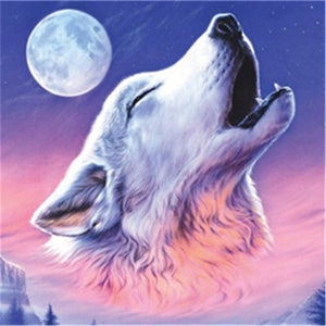 Full Moon Howling Wolf Diamond Painting Kit