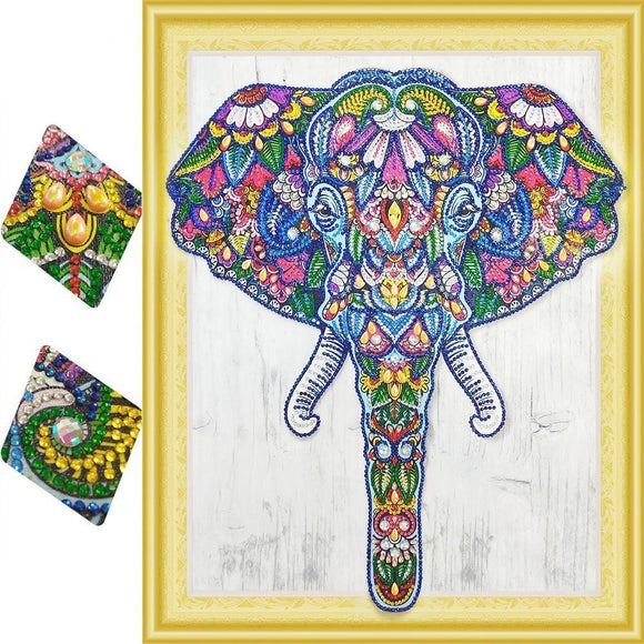 Floral Elephant Special Diamond Painting