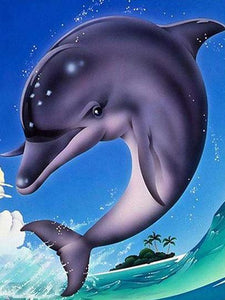 Diamond Painting Starter Kit Dolphin ~ 8x10""