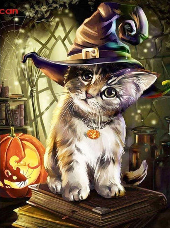 Witches Familiar Kitty Cat Halloween Diamond Painting