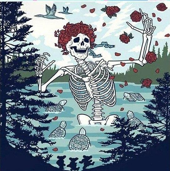 Grateful Dead Skeleton DIY Diamond Painting Kit For Beginners & Experts. Available in multiple sizes. Instant stress relief for anxiety treatment. Makes a beautiful gift or decoration once finished and framed! #diamondpainting #stressrelief #DIY #rhinestones
