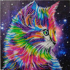 Diamond Painting Starter Kit Rainbow Kitty Cat Galaxy