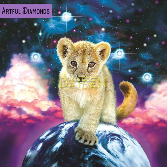 Baby Lion Cub Galaxy Ruler Diamond Painting Kit