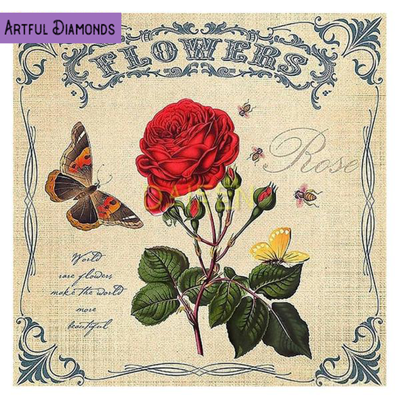 Flowers Vintage Burlap Sack Diamond Painting Kit