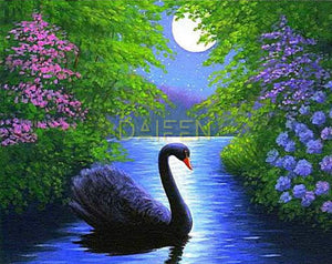 Moonlit River Swan Diamond Painting Kit