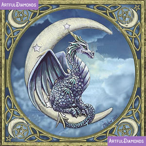 Wiccan Pagan Moon Dragon Diamond Painting Kit