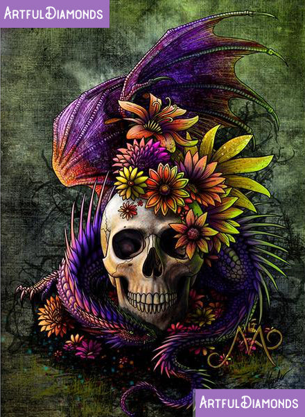 Dragon Skull Flowers Diamond Painting Kit
