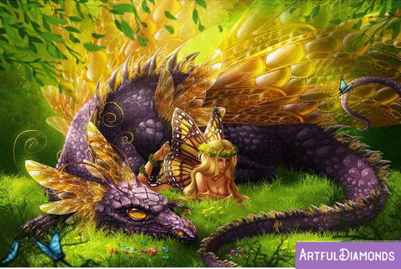Purple Dragon Fairy Diamond Painting Kit