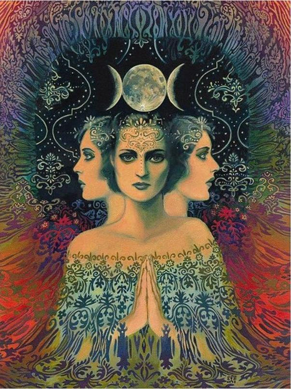 Maiden Mother Crone Wiccan Psychedelic Moon 5D DIY Diamond Painting Kit
