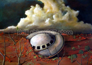 Crashing UFO Aliens 5D DIY Diamond Painting Kit