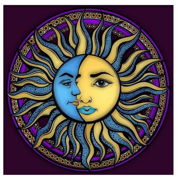 Sun & Moon Mandala Hippie Grateful Dead Diamond Painting Kit
