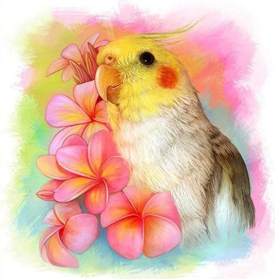 FREE Cockatiel Bird Floral Watercolor Diamond Painting Kit 10x10