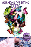 Colorful Butterflies Skull Diamond Painting Kit