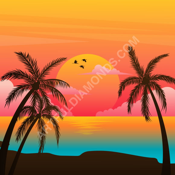 Sunset Palm Trees Beach Diamond Painting Kit