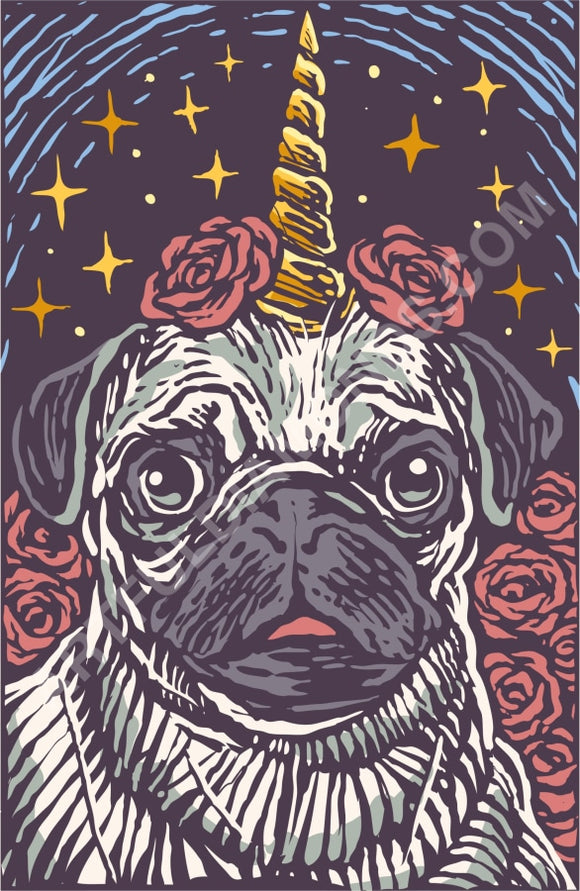 Unicorn Pug Chalk Art Diamond Painting