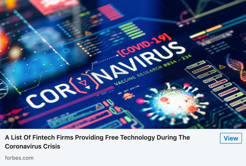 Forbes - Fintech Firms Providing Free Tech During Coronavirus