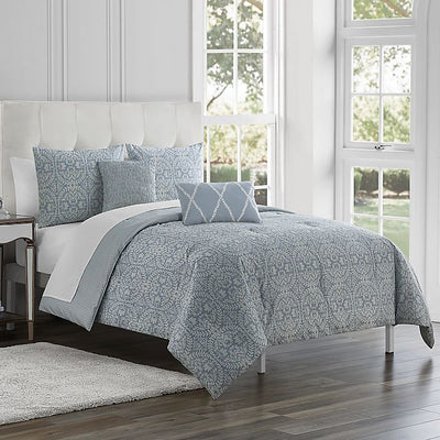 Marquis® by Waterford 5-Piece Rouen Reversible Queen Comforter Set in Periwinkle