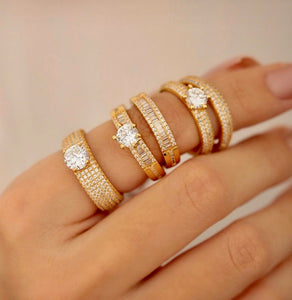 Lauren Crystal 18k Gold plated Rings – 2 Pack