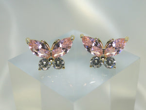 Butterfly 14K Gold Plated Earrings (Pink) - Sweetas Trends