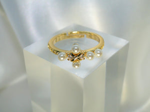 Cross Pearls 14K Gold plated Ring