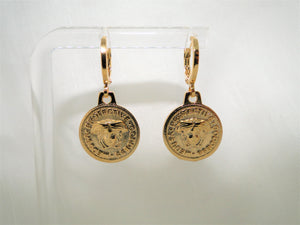 Medusa Medal Drop 18k Gold plated Earrings - Sweetas Trends