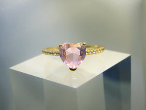 Pinky Heart Stone 18k Gold plated Ring
