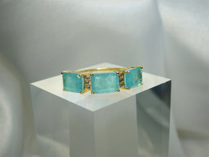 Green Stones & Zircon 18k Gold plated Ring