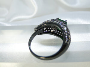 Green Black Rhodium plated Ring